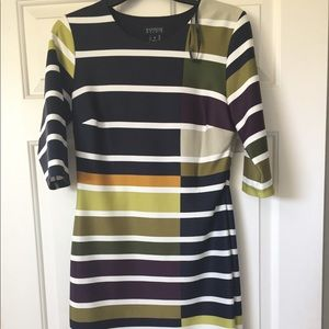 Dressy Polyester and spandex striped dress